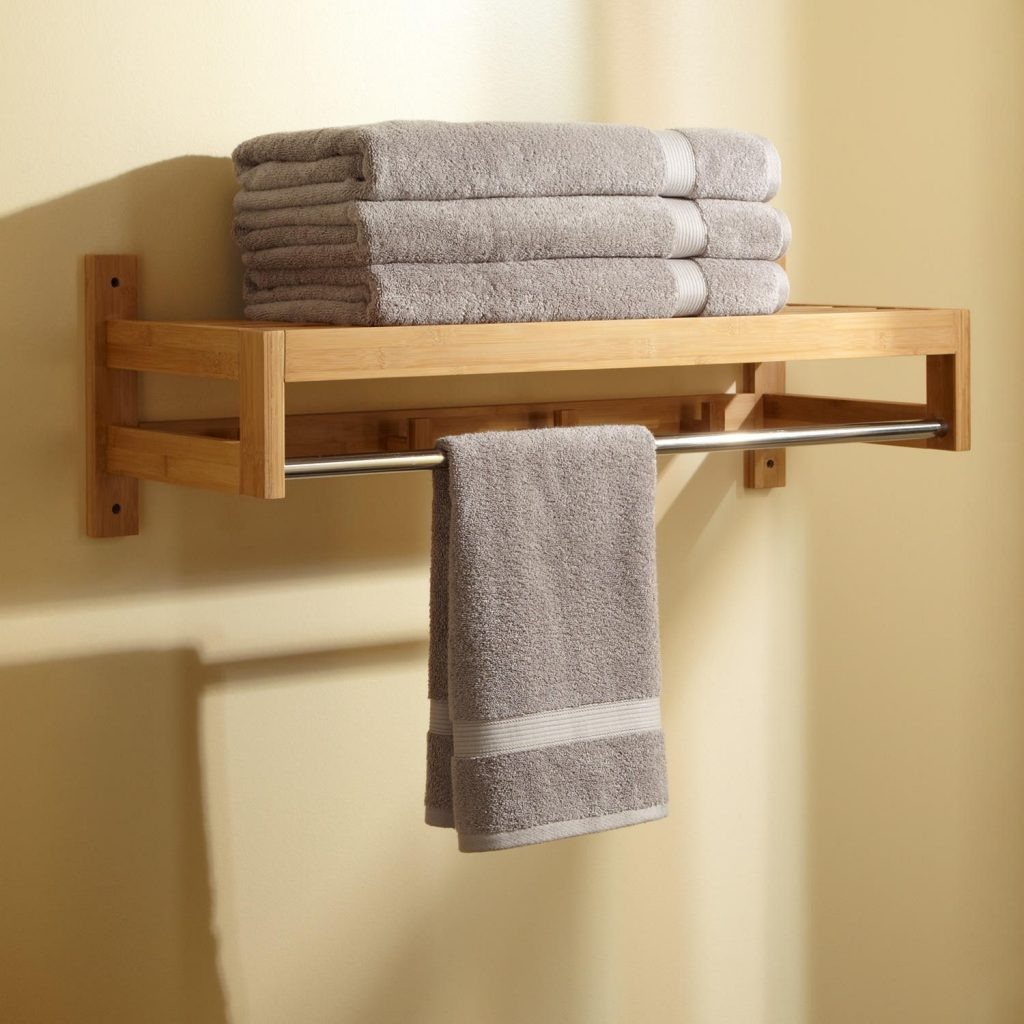 wooden rack with a bar